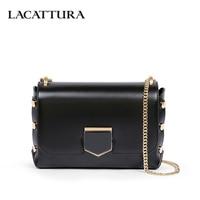 LACATTURA Women Shoulder Bags Designer Women Leather Handbag Luxury Chain Crossbody Bag Fashion Rivet Clutch High Quality