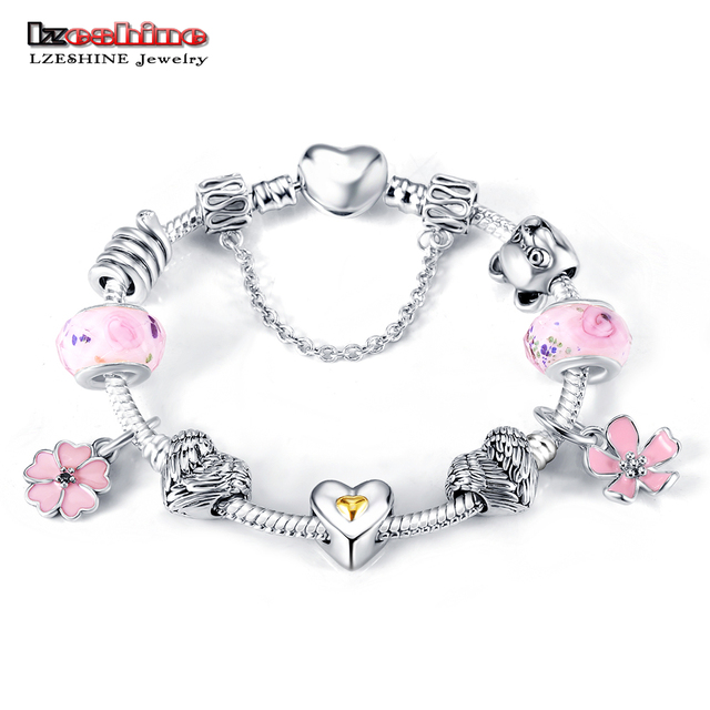 LZESHINE Bracelets & Bangles With Silver Color Flower Charm Bracelets For Women Friendship Wedding Jewelry 0002