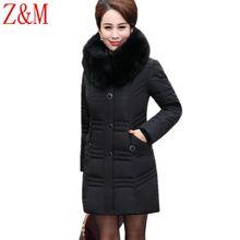 Winter elderly down jacket cotton Parka women long Hooded Slim Coat