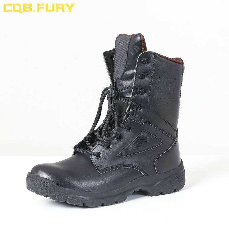 Ayakk.'ten Basic Çizmeler'de CQB. ÖFKE rahat erkek siyah askeri avcılık botları ayak bileği kayışı yaz nefes savaş asker botu yan fermuar ile ayakkabı'da  Grup 2