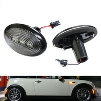 CYAN SOIL BAY Black Smoked Side Marker Lamps w/Amber LED Lights For 2006-2014 MKII MINI Cooper