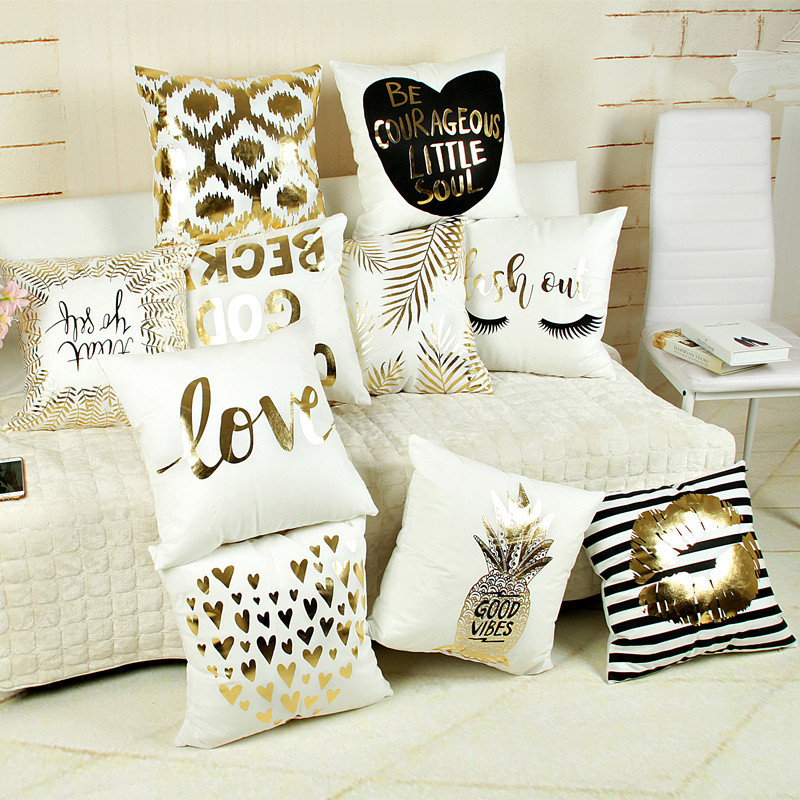 Bling Sequin Bronzing Pudebetræk Pude Taske Cover Pude Art Stripe Lips Øjenvipper Black White Gold Bedroom Home Dekorative