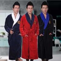 Hommes hiver Robe mâle peignoir Plus XXXL épais chaud longs peignoirs confortable Robe de bain Robe de chambre hommes solide Homewear