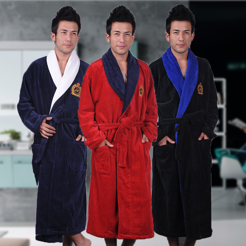Men's Winter Robe Male Bathrobe Plus XXXL Thick Warm Long Bathrobes Comfortable  Bath Robe Dressing Gown Men Solid Homewear