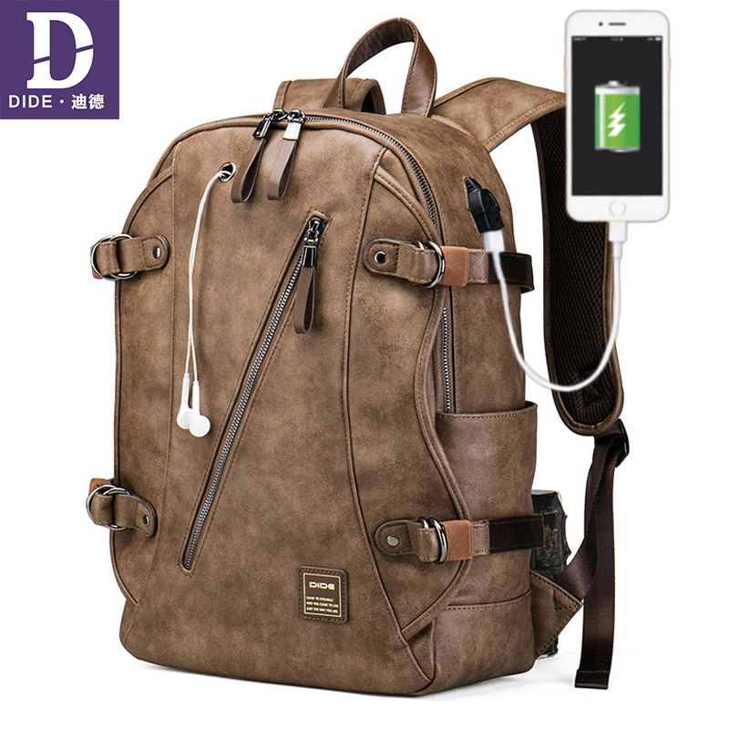 DIDE Anti theft backpack Male USB Charging Backpack School Bag men Travel back pack Leather bagback