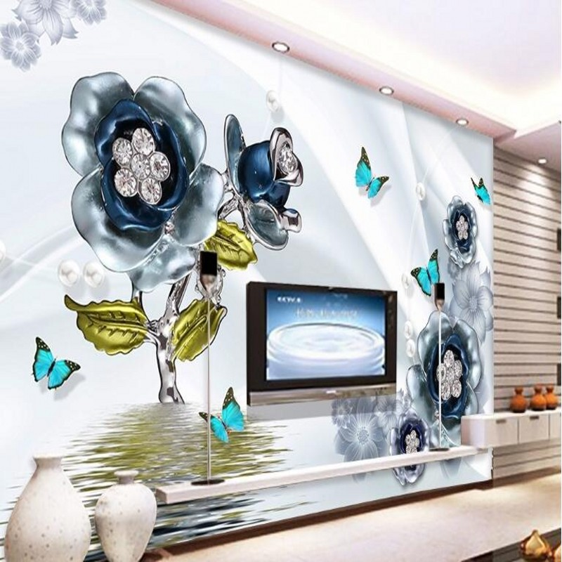 beibehang Custom large fresco fine 3d flower butterfly silk water wave reflection television background wall nonwoven wallpaper