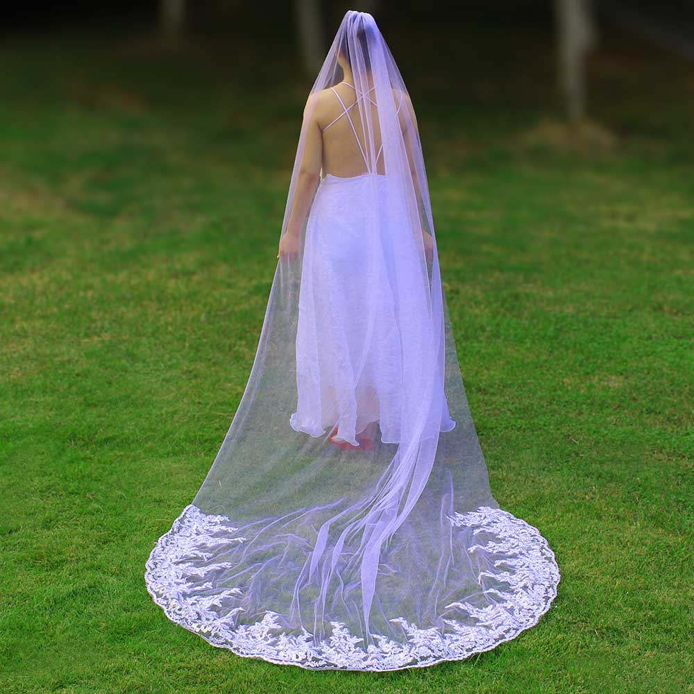 Real Photos Sparkly Sequins Lace 3 Meters Wedding Veil with Comb One Layer 3 M White Ivory Bridal Veil Velo 2019