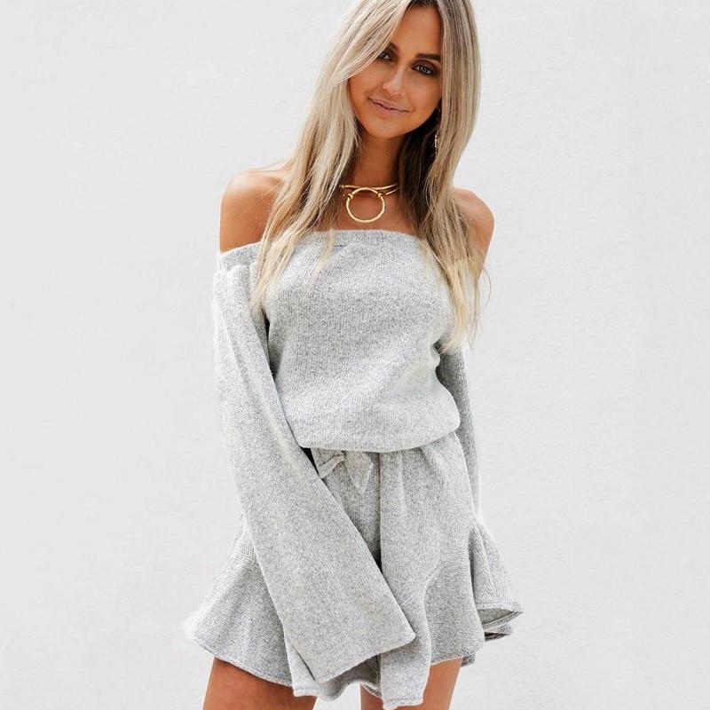 Jumpsuit Knitwear-Top Pullovers Off-Shoulder Autumn Winter Femme Women Gray Basic Sexy
