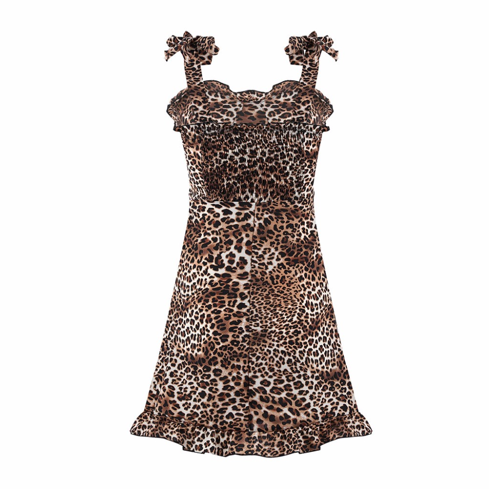2019 Hot Sale Ladies Sexy Beach Dress Summer Leopard Chiffon women off should Frock Dress Vestidos