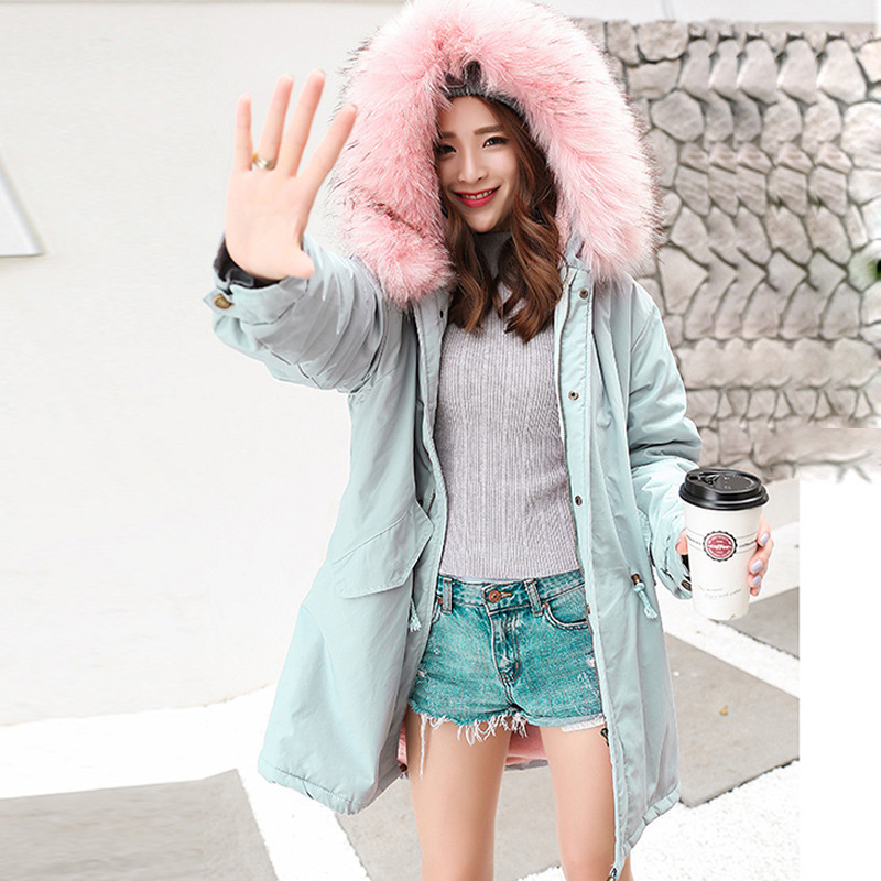 2017 New Arrival Autumn Winter Jacket Women Lambs Wool Long Coat Women Raccoon Fur Removable Collar Lady Parkas Female Outerwear 2017 winter new clothes to overcome the coat of women in the long reed rabbit hair fur fur coat fox raccoon fur collar