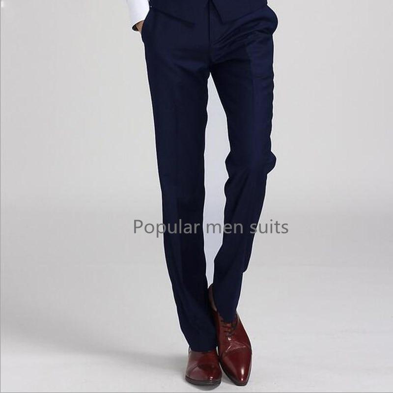 2018 I Più Nuovi Pantaloni Degli Uomini Grigio Navy Nero Bianco Custom Made Figura Intera Pantaloni Degli Uomini Classici Di Affari Di Disegno Pantaloni Del Vestito Casuale