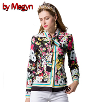 By Megyn 2017 Spring Summer Women Shirts Long Sleeve Casual Loose Blouses Floral Print Bow Neck
