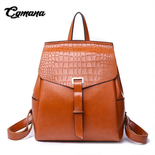 CGMANA Fashion High Quality Leather Women Backpacks 2018 Crocodile Pattern Female Bags Solid School Backpack For Teenage Girls
