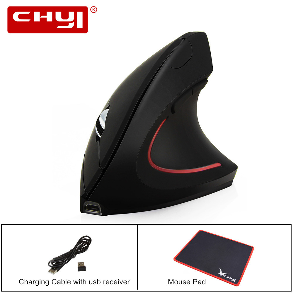Rechargeable Wireless Mouse 2.4Gzh Ergonomics Vertical Mouse 5 Buttons Gaming Mice Built-in Battery for Computer Gamer Mouse Pad