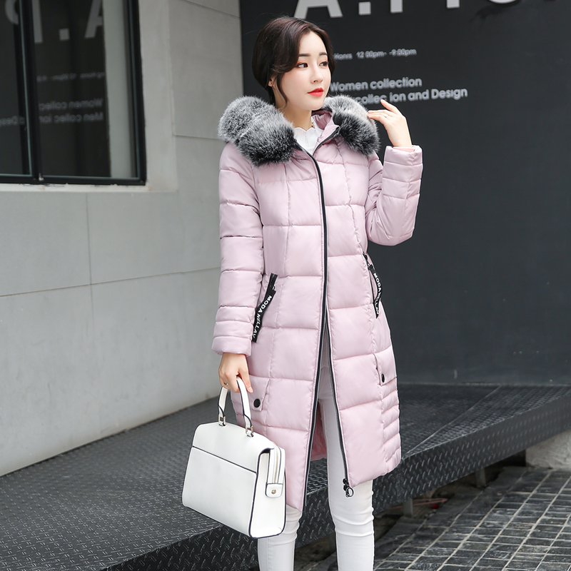 2017Winter Jacket Women Fur Collar Cotton Padded Hooded Thick Warm Outwear  Slim Female Down L-3XL 2017 winter jacket women fashion coat fur collar cotton padded hooded thick warm outwear parka slim female down six colors m 3xl