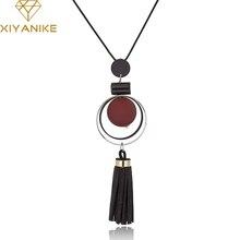XIYANIKE New Fashion Jewelry Round Wood Beads Crystal Tassel Statement Necklaces