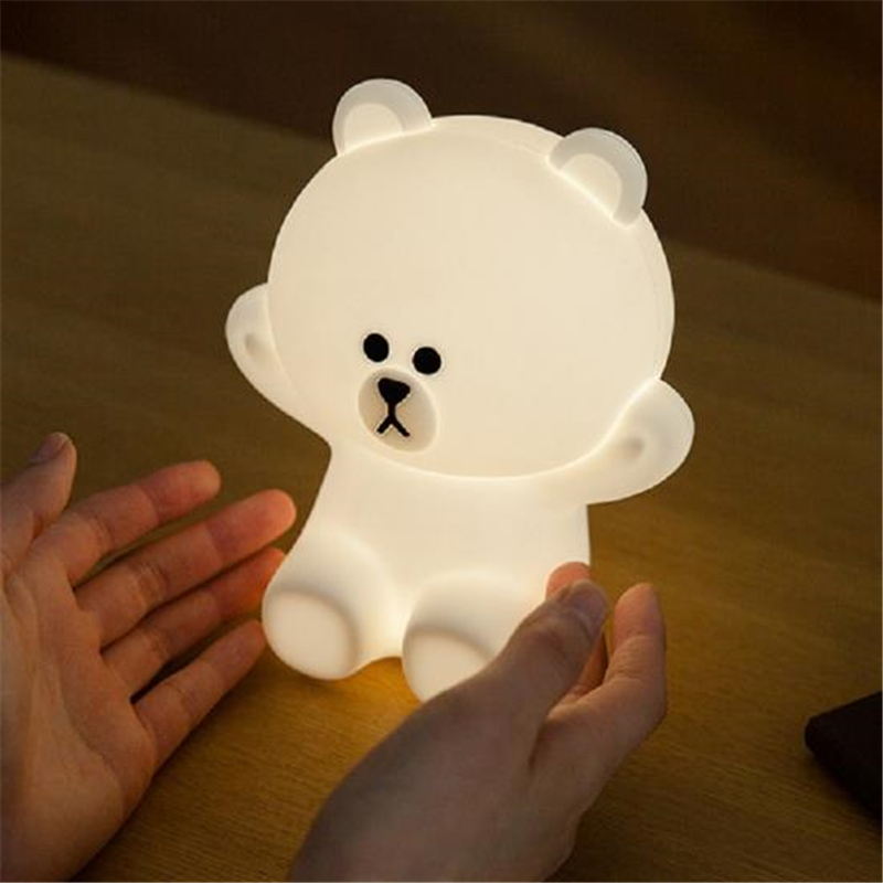 Ins Hot Lovly Brown Bear Coony Rabbit Night Light Child Company Light Silicone Bedside Light USB Charge Desk Light Free Shipping