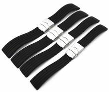 Wholesale 10PCS/lot 18MM 20MM 22MM 24MM rubber bands watch strap black color Watch band women and men watch strap  WBR003