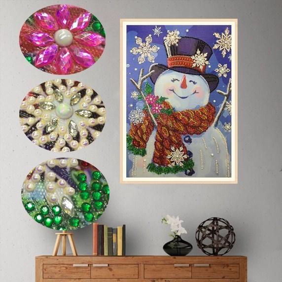 5d Diy Round Crystal Diamond Painting Christmas Snowman Embroidery