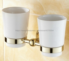 Luxury Gold Color Brass Bathroom Accessory Wall Mounted Toothbrush Holder with Two Ceramic Cups Nba239 все цены