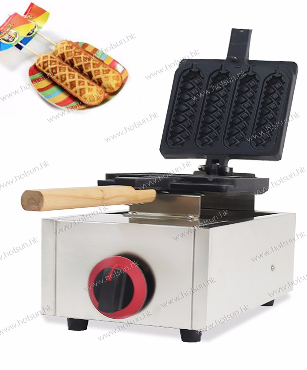 Commercial Non-stick 4pcs LPG Gas Lolly Waffle Dog Stick Iron Baker Maker Machine commercial non stick lpg gas rotated 4 slice heart shaped waffle iron maker baker machine