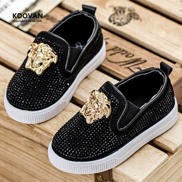 Koovan Children Sneakers 2017 Spring Fashion Kids Children's Shoes Baby's Flat Rhinestones Metal Head Boys Girls Sport Shoes