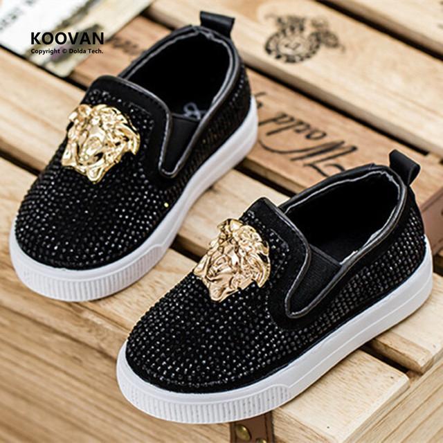 Koovan niños sneakers 2017 primavera moda niños kids shoes rhinestones planos de metal cabeza del bebé niños niñas sport shoes