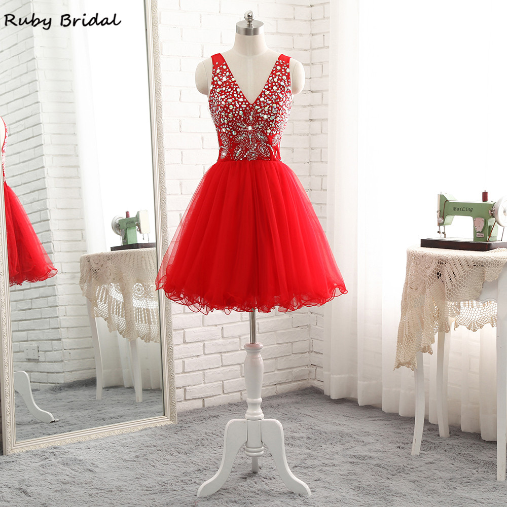Ruby Bridal Vestidos De Fiesta Red Tulle Beaded Top Mini   Cocktail     Dresses   Luxury A-line Cheap Hot V-Neck Prom Party Gown R307