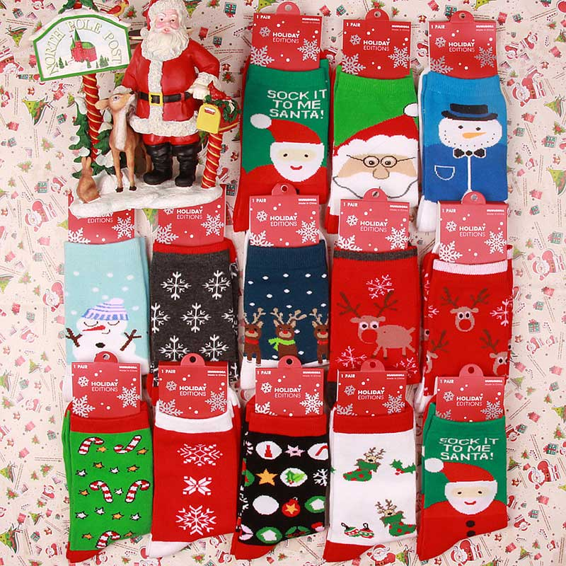 Snowflake Deer Printed Cotton Socks Women Spring Fashion Casual Onesize Elastic Christmas Gift Cute Hosiery Ladies Female Socks