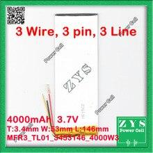 3 провода полимерный литий-ионный аккумулятор 3,7 V 3454146 3555145 могут быть выполнены по индивидуальному заказу CE FCC, аддитивного цветового пространства(по ограничению на использование опасных материалов в производстве безопасности материала(MSDS сертификацию качества