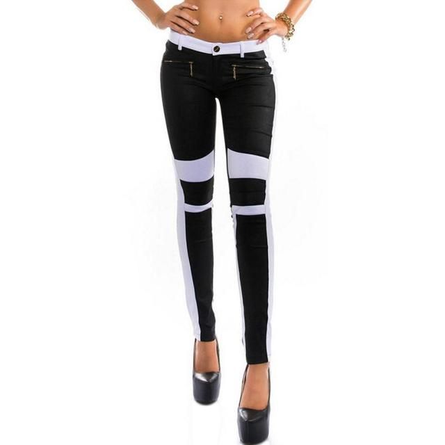 Women Stitching Slim Trouser Black White