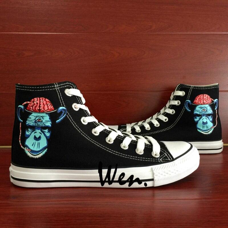ФОТО Wen Design Custom Hand Painted Shoes Chimpanzee Brain Men Women's High Top Canvas Sneakers Christmas Gifts