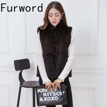 Real mink knitted lady ma3 jia3 collar thickening vest big yards of clothes coat invisible pocket  Winter women's jacket