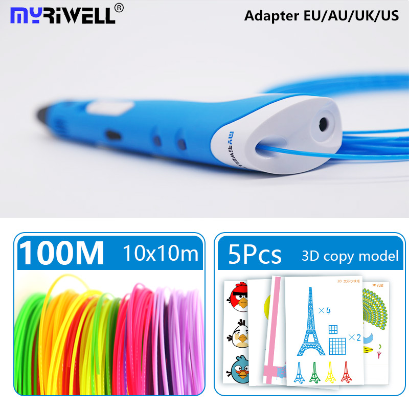 Myriwell 3D Pen pla 1.75mm abs filament 3d printed pen 3 d pen diy brush Birthday gift with free Paper model 3d handle halo bruteshot 3d paper model