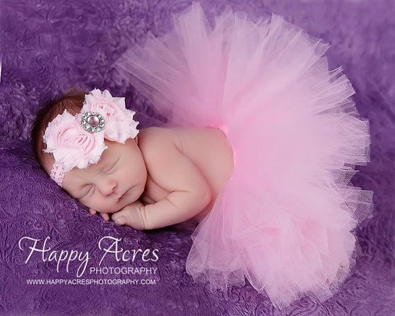 Baby Girl Tulle Tutu Skirt and Flower Headband Image