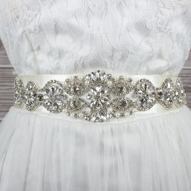Honey Qiao Sparkly Luxury Crystal Rhineston Bridal Belts for Wedding Dresses 2017 Cristales Sashes Accessories Handmade