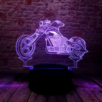 Luminous รถจักรยานยนต์รุ่น 3D ภาพลวงตาโคมไฟ Led ที่มีสีสัน Nightlight แสงแฟลชเรืองแสงใน Dark มอเตอร์ของเล่น