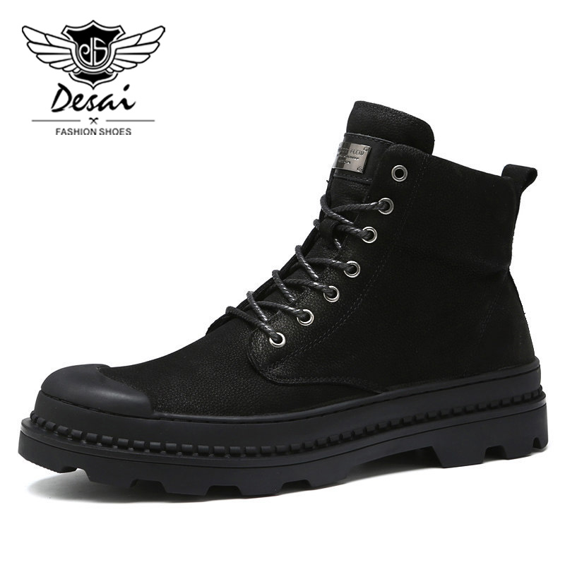 DESAI Brand New Genuine Leather Martin Boots Man Boots Winter High Boots Men Warm Velvet Cotton Snow Boots Hot Sale 2017 visnxgi new 2017 thick cotton cap men women winter warm hot sale high quality knitting brand casual hat female skullies beanies