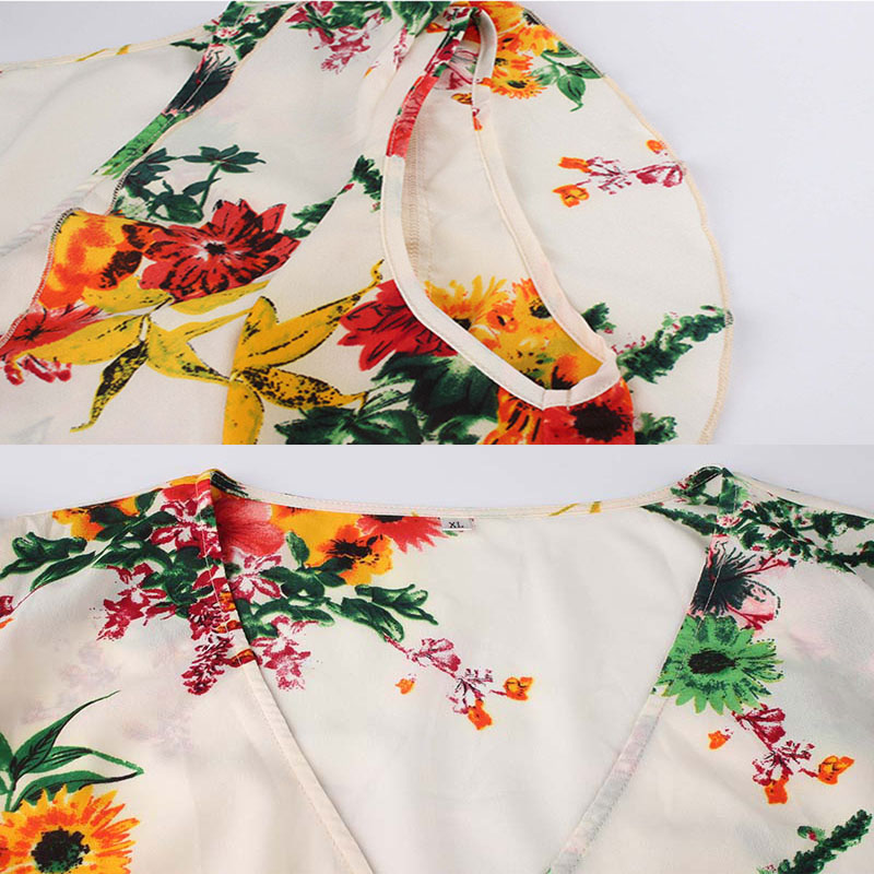 Casual Plus Size Sundress Floral Print Party Wrap Dress Women Elegant V Neck Sleeveless Boho Beach Dresses Office Vestidos L 4XL in Dresses from Women 39 s Clothing