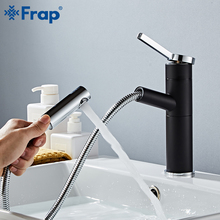 FRAP Basin faucet brass bathroom sink faucet single handle pull out waterfall faucet cold and hot Water Crane Vessel Sink Mixer black pull out brass bathroom basin sink faucet single handle hot and cold basin water crane vessel sink mixer tap al 7807