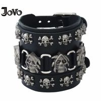 Classic Punk Rock Curb Cuban Faceted Geniune Leather Bracelets for Men Women Boy Male Gift Leather+Alloy+rivets Wristband P01865