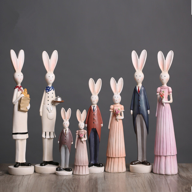 Resin handicrafts rural wedding couple rabbit figurine modern home resin handicrafts rural wedding couple rabbit figurine modern home decors creative wedding gift 2017 new year negle Image collections