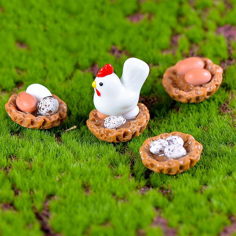 4pcs/set Miniature Hen Henhouse Eggs Family Mini Animal Craft Micro Landscaping Decor Home Landscape Decoration DIY Accessories