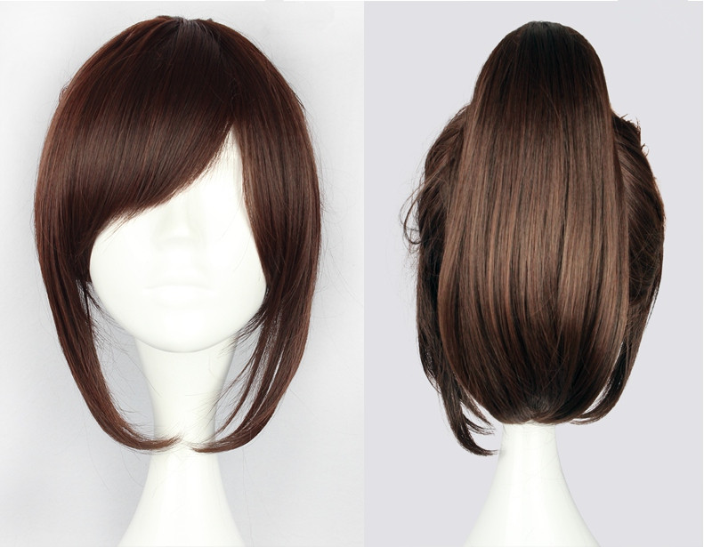 "Attack on Titan Sasha Blouse 35cm 13.78"" Short Straight Cosplay Wigs for Women Claw Clip Ponytail Anime Synthetic Hair + Wig Cap"