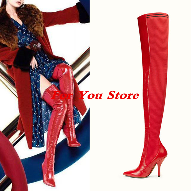 цены New Red Color Pointed Toe Women Boots Sexy High Thin Heel Luxury Brand Super Star Runway Shoes Thigh High Boots Long Booties