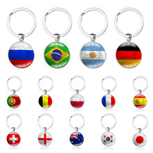 Hot New 2018 Russia Game Football Keychains Key Ring Brazil Germany England France Poland Soccer Key Chains Best Souvenir(China)