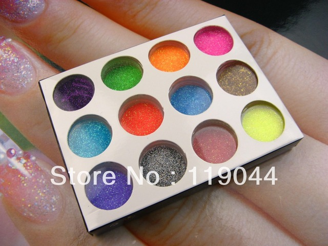 Free shipping 12pots/set Nail Acrylic Powder Dust Decoration for Nail color Tips NA145