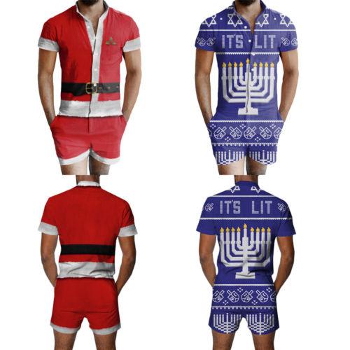 5761f5ab75 Xmas Ugly Christmas Men Casual Santa Short Sleeve Onesies Jumpsuits Short  Trouser Pant Sleepwear Male Nightwear Slim on Aliexpress.com