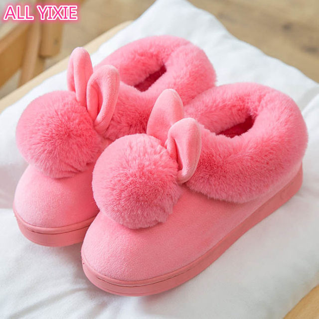 ALL YIXIE 2019 Fashion Winter Short Plush Women Slippers Lovely Warm Thick Bottom   Indoor Home Flip Flops Size 36-41