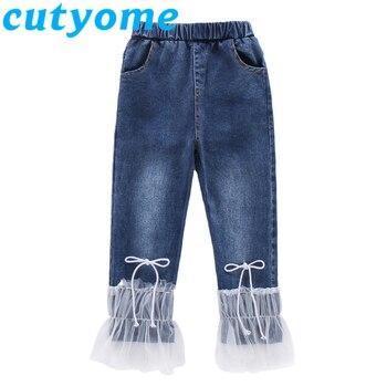50a8c8d765cecbd Кружевные джинсовые шорты в стиле пэчворк для девочек-подростков летние  резинка на талии модные джинсовые